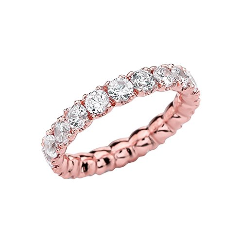 4.5 Ct Rose (14k Rose Gold 4.5 Carat Cubic Zirconia Wedding Eternity Band(Size 11.75))
