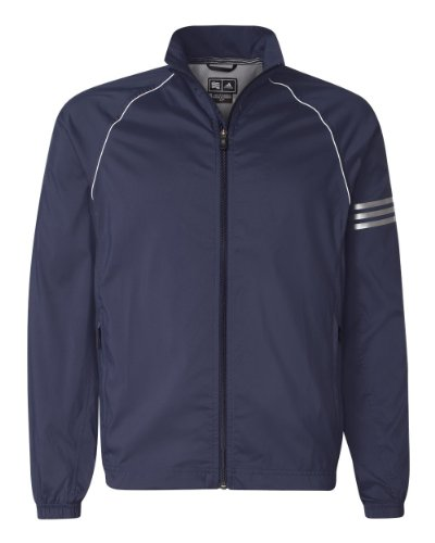 Adidas Golf A69 ClimaProof Mens 3-Stripes Full-Zip Jacket - Navy/White/Sterling - XXX-Large
