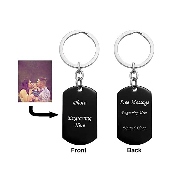 Queenberry Personalized Laser Photo/Text Name Engraving Stainless Steel Dog Tag Key Chain