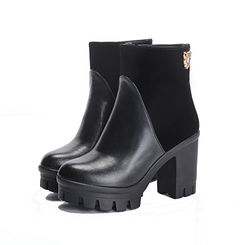 Low AmoonyFashion Zipper Heels High Black Boots Women's Closed Solid Top Toe Round 571Rp1