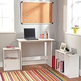 Target Marketing Systems 3 Piece Soho Study Set with 1 Writing Desk, 1 3-Shelf Bookcase, and 1 Storage Cube, White
