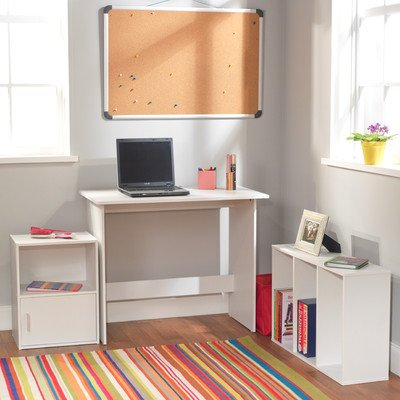 Target Marketing Systems 3 Piece Soho Study Set with 1 Writing Desk, 1 3-Shelf Bookcase, and 1 Storage Cube, White by Target Marketing Systems
