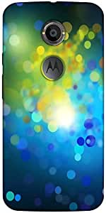 Snoogg Blue Drops Pattern Designer Protective Back Case Cover For Moto X2