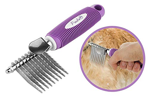 "Poodle Pet Dematting Fur Rake Comb Brush Tool - with Long 2.5"" Steel Safety Blades for Detangling Matted or Knotted Undercoat Hair, Safe Grooming Accessories for Dogs, Longhaired Cats, Rabbits, Horses"