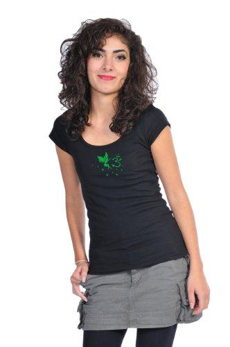 Verano con de hadas 3elfen Yoga corta camisa Negro redondo Verde camisa mujer manga cuello de Top Om Goa ropa de wwTqEPrSZ6