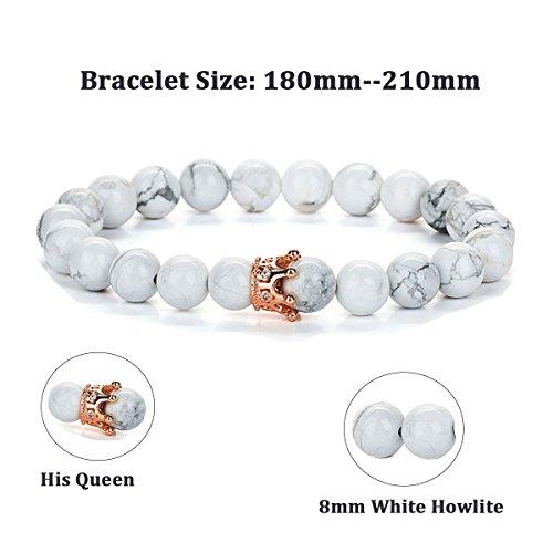 dfb653a91503d SEVENSTONE 2PCS Crown Couples Bracelet for Men Women King&Queen Bracelet  Adjustable 8MM Beads