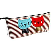 M-Egal Large Capacity Pencil Case Cute Cat Canvas Cosmetic Pencil Holder Pouch red stripe