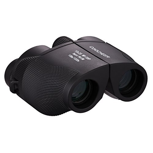 Noeler 10x25 High Powered Folding Binoculars,BAK4 Prism Green Lens View Brightest for Bird Watching Outdoor Sports Games and Concerts