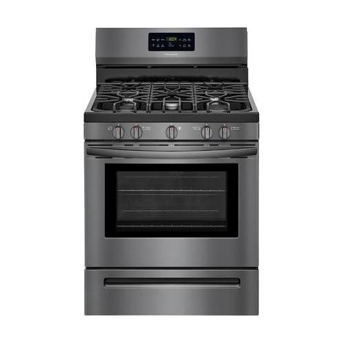 Frigidaire FFGF3056TD 30 Inch Freestanding Gas Range with 5 Sealed Burner Cooktop, 5 cu. ft. Primary Oven Capacity, in Black Stainless ()