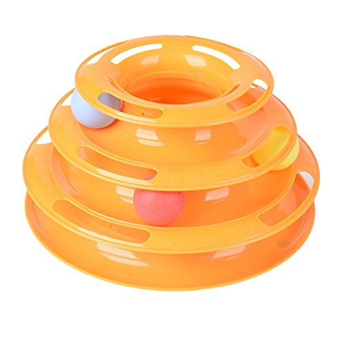 Deftun Tower of Three Tracks Interactive Cat Toy Crazy Amusement Plate Cat Kitty Fun Pet Ball Roller Toy by Deftun
