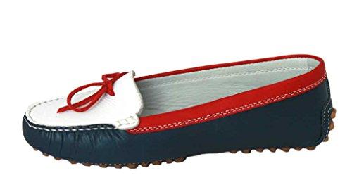 Gianros Dames Schoenen Schoen Leer Mocassins 352 Blauw-rood-wit