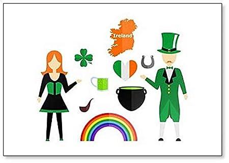 Imán para nevera con diseño de símbolos e iconos irlandeses ...