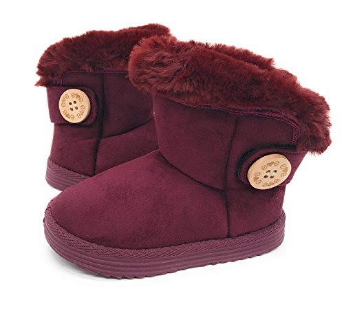Blue Berry EASY21 Baby Infant Girls Faux Fur Mid Calf Warm Boots,Burgundy42,Size 12