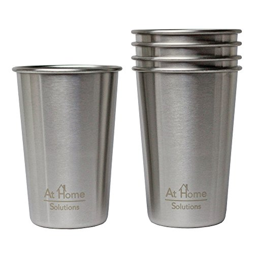 Eco-friendly BPA and Lead Free Premium Stainless Steel Cups, Set of 5 16 oz Pint Tumblers Perfect for Camping Outdoors and Everyday Use Indoors