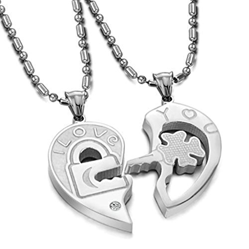 MoAndy Men Stainless Steel Pendant Pairs Puzzle Key Lock Necklace Pendants Necklace Chains Silver