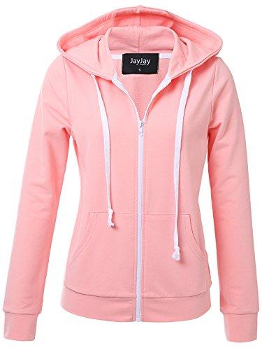 JayJay Women Athlete Stretchy Full Zip Jersey Fashion Running Hoodie Long Sleeve Jacket,SAKURAPINK,XL