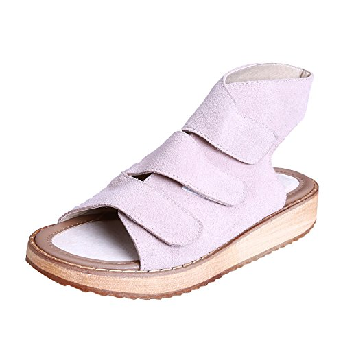 Smilun Lady's Sandal Cross Strappy Sandal Hook-and-loop Strap Wedge Sandals Beige