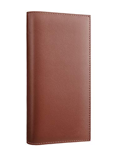 (Kookio Leather Checkbook Cover With Card Slots for Duplicate Checks RFID Blocking For Men and Women (Brown) )