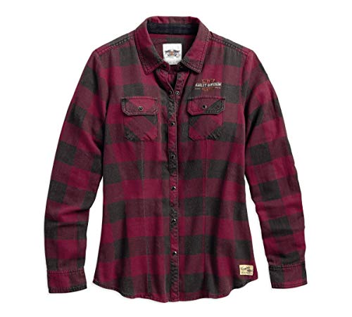 Harley-Davidson Official Women's Genuine Laced Yoke Plaid Shirt, Plaid (Small)