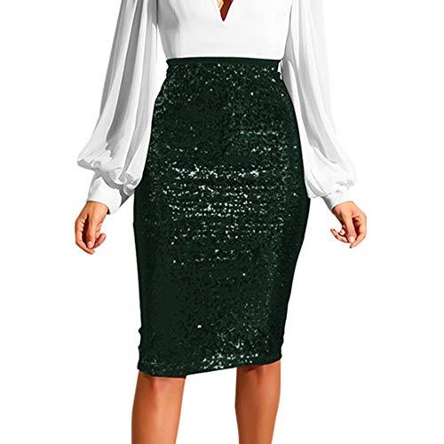Pinstriped Skirt Pencil - RAINED-dress Women Sequin Skirt Fashion Solid Color Slim High Waist Skirt Push up Hip Pencil Bodycon Skirt Green