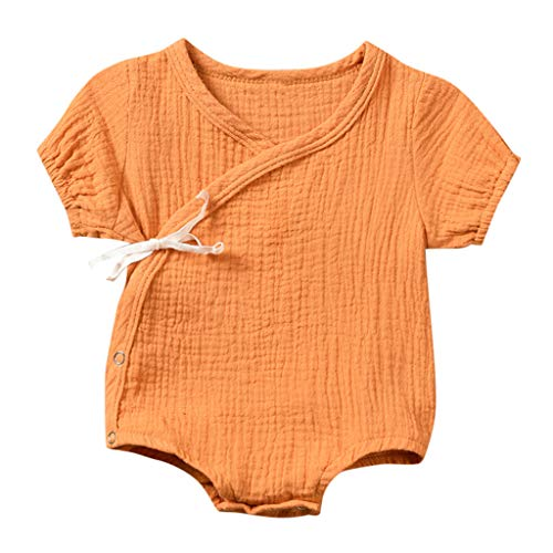LYN Star ◈ Newborn Baby Girl Romper Bodysuits Cotton Flutter Sleeve One-Piece Romper Outfits Clothes Orange