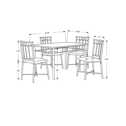 Monarch Specialties Marble-Look 5-Piece Metal Dining Set, Cappuccino/Bronze