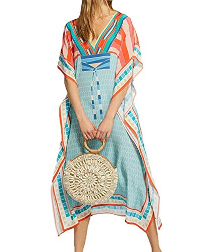 Ethnic Caftan - MeiLing Women's Printed Kaftan Loungewear Long Caftan Beach Dress Bikini Swimsuit Cover up Swimwear (Print A)