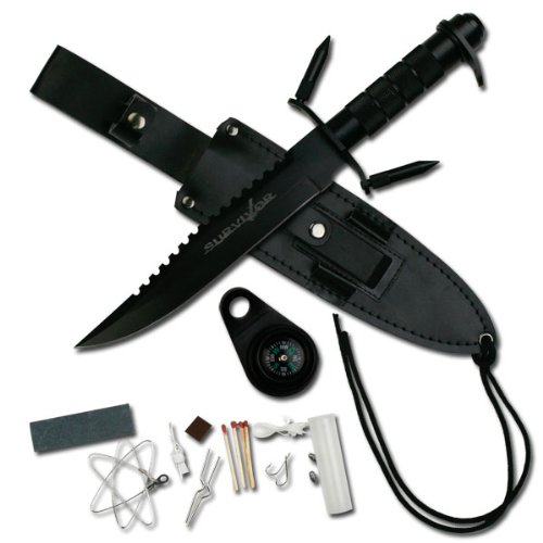 Survivor HK-217LB Fixed Blade Knife with Survival Kit, Black Reverse Serrated Blade, Black Metal Handle, 9-1/2-Inch Overall