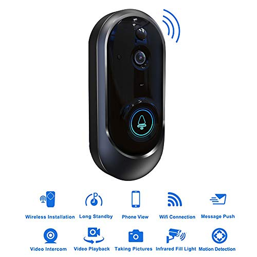 HUIGE Video Doorbell 720p HD Video, Two-Way Talk, Motion Detection, WiFi-Connected, Satin Nickel ()