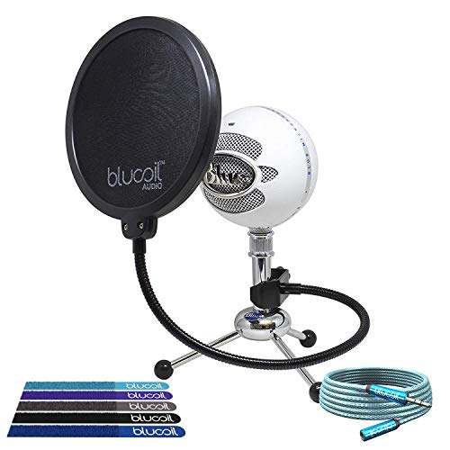 Blue Microphones Snowball USB Condenser Microphone (Textured White) Bundle with Blucoil Pop Filter, 6-Ft 3.5mm Headphone Extender and 5-Pack of Reusable Cable - Bundle Snowball Microphone Usb