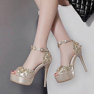 RTRY Scarpe Comfort Estate CN38 B Heel 5 Novità Abito EU38 amp; US7 UK5 Club Donna Stiletto Pu Wedding Outdoor Casual Autunno Da Applique Party 5 Sera Sandali YAqAIr