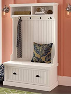 Hall Trees with Bench and Coat Racks - Distressed White Wood with Drop Down Drawer Shelves