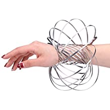 Flow Rings Kinetic Spring Toy 3D Sculpture Ring New Trend for Teenagers 0.15 lb Silver Arm Ring for Kids for Adults Stress Relief Stainless Steel Great Creative Fun Gift for Math & Science Lovers