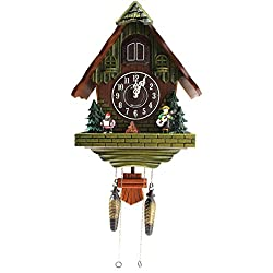 Sinix SN602B Handcrafted Antique Wooden Cuckoo Pendulum Wall Clock, Green
