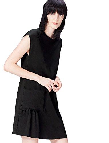 Corta con Donna Manica a Vestito FIND Tasche Nero Black Px7Tq