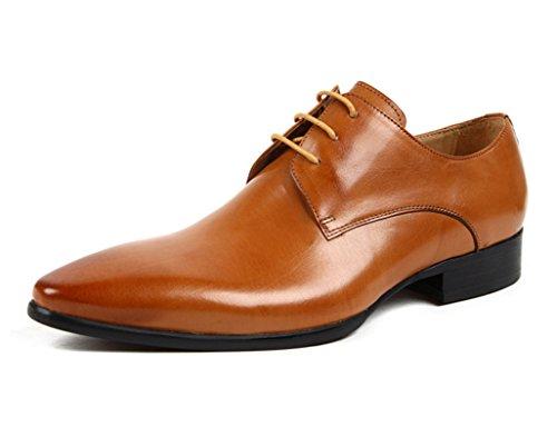 HWF Scarpe Uomo in Pelle Scarpe da uomo in pelle Business Formal Wear Punta in pizzo stile inglese Scarpe singole traspiranti (Colore : Nero, dimensioni : EU37/UK4-4.5) Brown Yellow