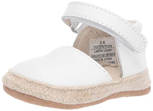 Robeez Girls' Espadrille-First Kicks Crib Shoe, White, 12-18 Months