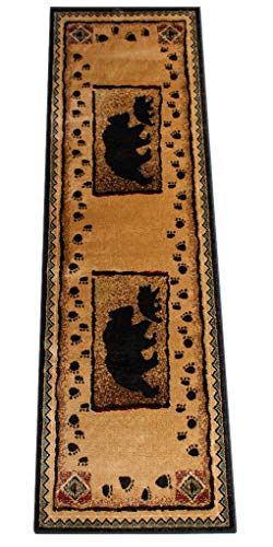 - Cabin Runner Area Rug with Bear and Cub Image (2 Feet 2 Inch X 7 Feet 2 Inch) Runner