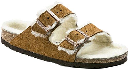 Birkenstock Arizona Shearling Mink Beige Unisex Sandals 38 (US Women's 7-7.5) (Birkenstock Clog Sandal)