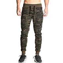 Aecibzo Men Gym Pants Camouflage Casual Jogger Skinny Slim Fit Trousers