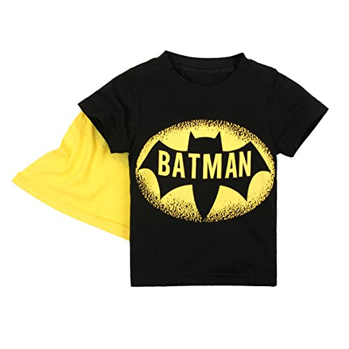 EITC Little Boy's Short Sleeve Cotton Batman Hero Costume T-Shirt with Cape 5T (5t Batman Costumes)