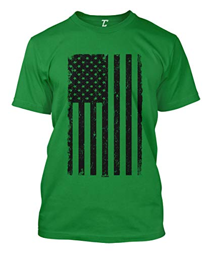 Distressed Black USA Flag - United States Men's T-Shirt (Kelly, XX-Large)
