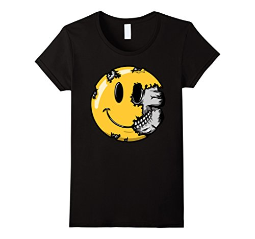 Womens Halloween Scary Smiley Face T Shirt Smiling Skull Skeleton Small Black