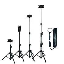 Raking Floor Height Adjustable 360 Rotating Tripod Tablet Mount Stand Telescoping Post Carry Case, Black