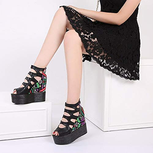 Women'S Cake Increased Slope Out Mouth SFSYDDY Inside Sponge Shoes Shoes Fish 37 Fashion Hollowed black Bottom Heel Thick Sandals wtvqgY