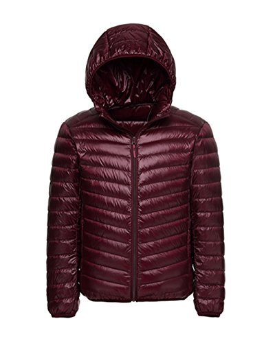- Lanmay Men's Ultralight Packable Hooded Down Jacket Puffer Down Coats (Medium, Burgundy)