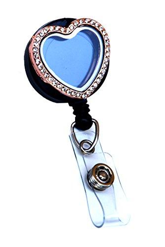 Rhinestone Lined Memory Locket ID Badge Reel/ ID Badge Holder (Rose Gold Heart (Stones)) ()