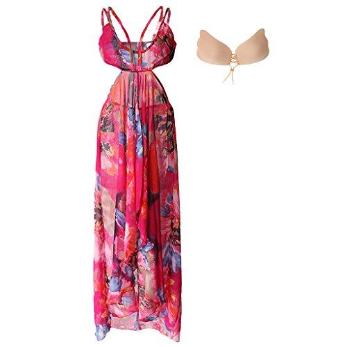 Gazechimp Maxi Split Vestido Floral para Mujer +Barra de Silicona Empuja Hacia Arriba Sujetador Invisible Rosa
