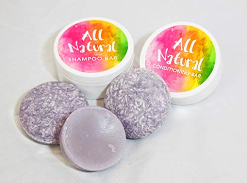 (Shampoo & Condition Bars: Includes 2 Shampoo Bars + 1 Conditioner Bar + 2 Travel Containers. All Natural, Safe for Color Treated Hair, SLS Free, Compare to Lush Shampoo Bars (So Sumptuous))