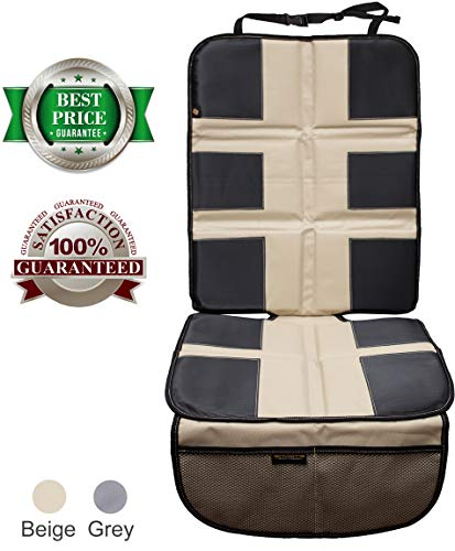 Car Seat Protector by ShmidtS - Luxury Car Seat Cover Summer/Winter for Baby & Child - Anti-Slip, Heavy Duty Car Seat Mat Protector for Infants W/Upholstery, Beige/Tan